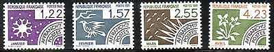 LOT 4 TIMBRES MOIS ANNEE - n° 186 à 189 - 1985