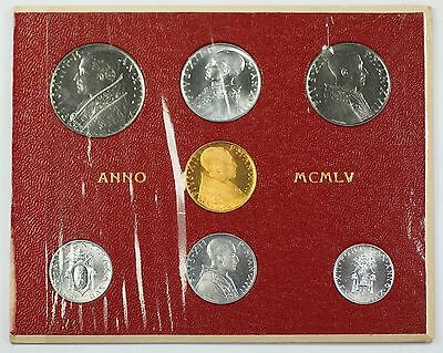 1955 Vatican City Mint Set Extremely Rare BU Silver & Gold Coins w/ 100 Lira