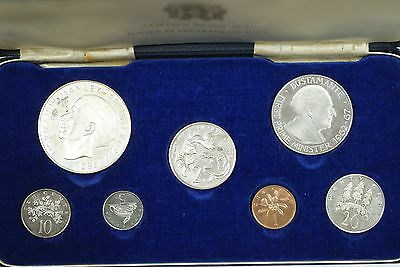 1972 Franklin Mint Jamaica Proof Set with Sterling Silver 925 5$ Coin in Box
