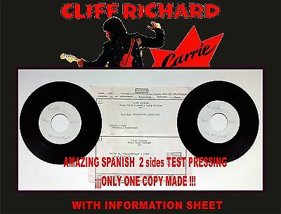 CLIFF RICHARD. CARRIE. Amazing Spanish Test Pressing. Only 1 copy made!