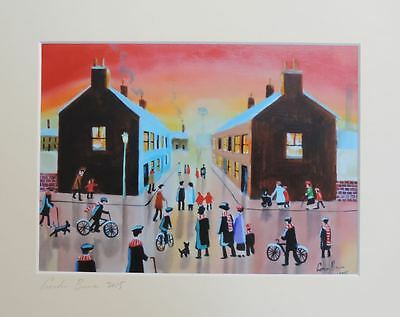 Going to the match football mounted print from painting Gordon Bruce art