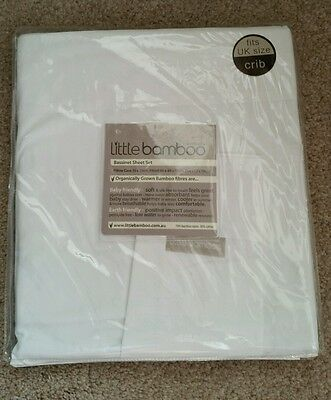 Little Bamboo Bassinet Cradle Crib Organic Sheet Set 3 Piece White New