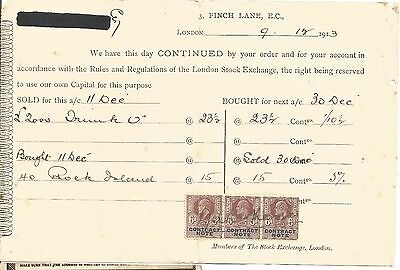 """REVENUE STAMPS  LONDON STOCK EXCHANGE  """" CONTRACT NOTE 3x6d """"  KING EDWARD  1913"""