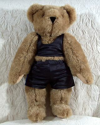 """16"""" Vermont Teddy Bear Handmade in USA Jointed Brown Wearing Spandex Swimsuit"""