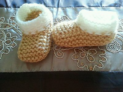 Hand Knitted, newborn baby  clothing.Boys.Girls. Sandstone  Booties,Slippers,NEW