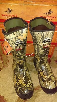 """Winchester Mens 16"""" Side-Zip 1200 gram Insulated Waterproof Hunting Rubber Boots"""