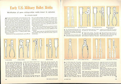 1966 2 Page Print Article of Early US Military Bullet Molds Minie Ball Colt 1860