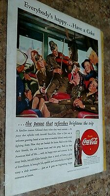 Lot of 3 Vintage COCA COLA ADS 1940s  ~ The War Years