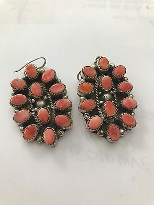 Vintage Sterling signed PINK CORAL NAVAJO SQUASH BLOSSOM Earrings