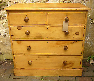 19th CENTURY VICTORIAN ANTIQUE PINE 2 OVER 3 RUSTIC CHEST OF DRAWERS