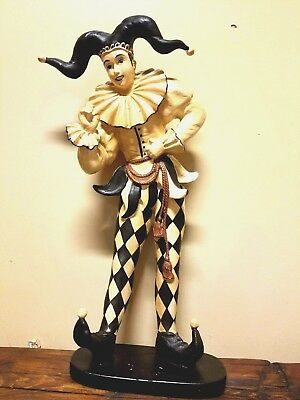 Antique Joker Court Jester Statue Composition