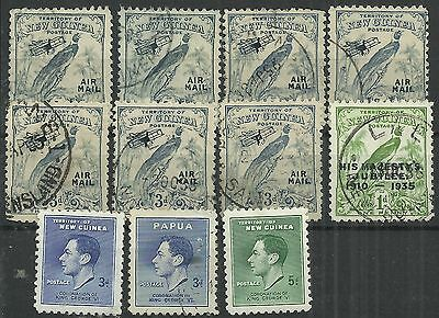 New Guinea including Air & Jubilee 11 Mint/used stamps, duplication as scan