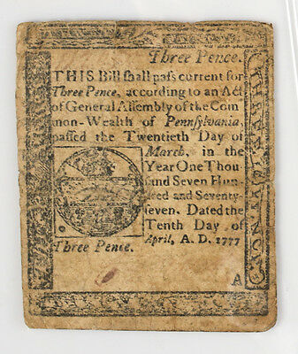 Pennsylvania 3 Three Pence Note April 10 1777 Colonial Currency
