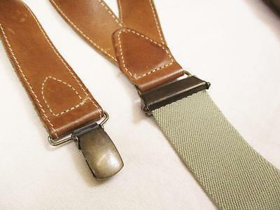 Vintage 90's Mens Braces Trouser Suspenders Camel Brown Leather Western USA