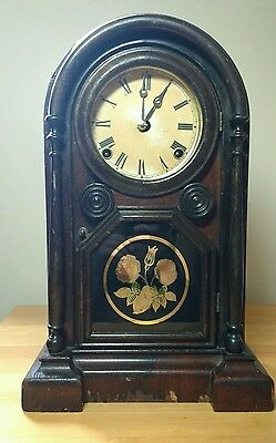 Antique E.N. WELCH 1870 Shelf/Parlor/Mantle Clock - WORKING - Painted Glass