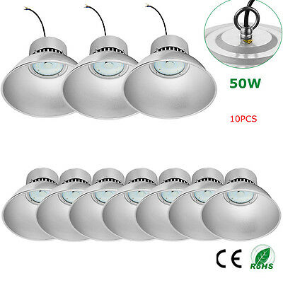 10x 50W LED High Bay Light 6000-6500K Cool Industrial Commercial Building Lights