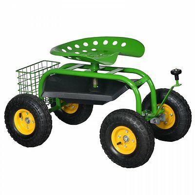 Green Heavy Duty Gardening Planting Garden Cart Rolling Work Seat With Tool Tray