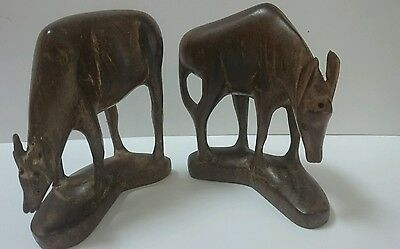 2 Vintage Carved Wooden Oryx dated 1957