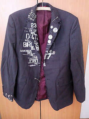 Original One of a Kind PUNK ROCK Jacket with Safety Pins & Badges