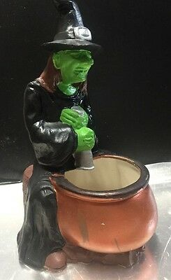 Vintage 1979 Ceramic Witch With Pot Halloween Decoration