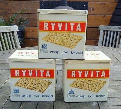 Set Of Three Vintage Ryvita Tins - Highly Collectable. Original, Not Repros