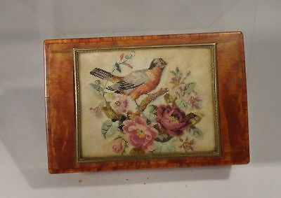 Antique Swiss Reuge Music Box Wood Box Blue Danube Three Songs Embroidery