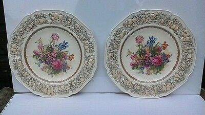 Crown Ducal Florentine Dinner Plates Iris and Pink Carnation