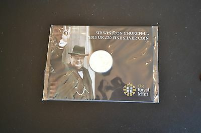 Sir Winston Churchill Royal Mint £20 coin solid fine silver 2015 new and sealed