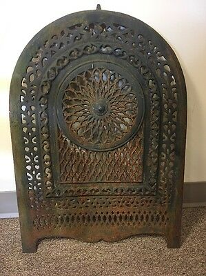 Antique Cast Iron Arched Victorian Fireplace Surround Summer Cover Insert