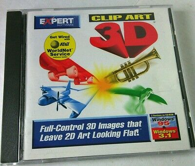 3D PC - CD Rom Clip Art Images Full Control Expert Software Leave 2D Disc Case