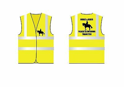 Adult Horse & Rider Hi Vis Waistcoat Size medium.  Equestrian Safety Clothing