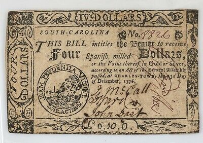 South Carolina $4 Four Spanish Milled Dollars December 23 1776 Colonial Currency