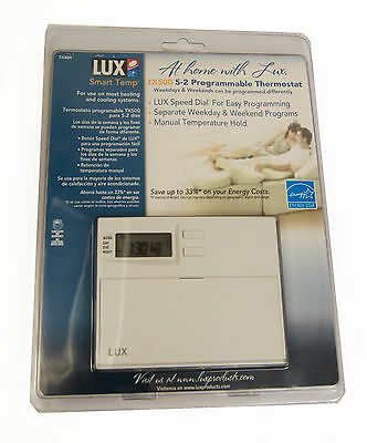 Lux 5-2 Programmable Thermostat TX500  New