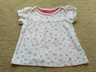 M&S Baby Girl White & Red Flower Design Top Age 3-6 Months