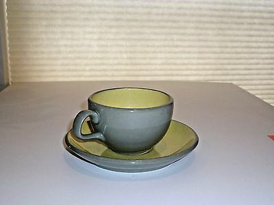 Set Harkerware Stone Cup and Saucer Speckled Yellow with Grey