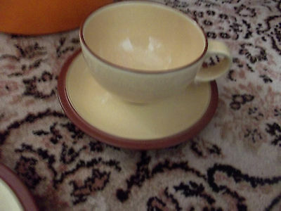 denby juice  yellow and terracotta cups and saucers x 6