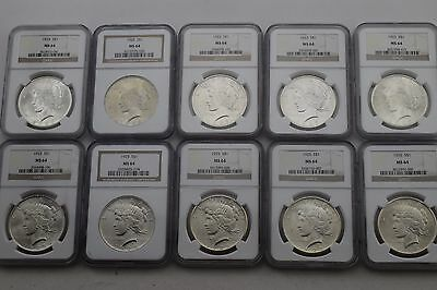 1922, 1923, 1925 Peace Dollar $1 Silver Lot of 10 - NGC MS64