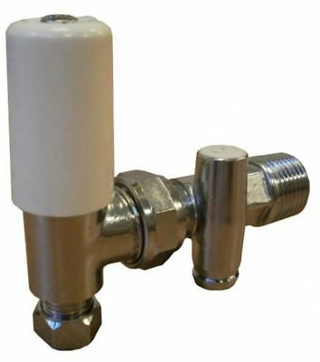 Terrier 15mm angled lockshield radiator valve with draw off