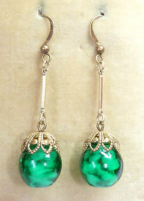 Vintage Venetian green  Sommerso glass bead earrings to match 1950s necklace