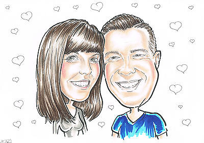 Personalised caricature from photo drawing fun present couples gift original