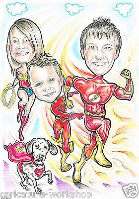 Personalised Caricature Spider Man / Super Hero From Photo Cartoon Drawing A3