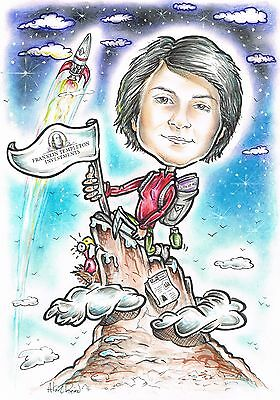 Personalised caricature from photo drawing portrait original gift fun A3 size