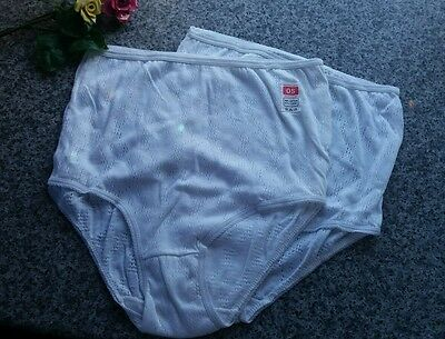 2 x 1970s Vintage Retro Cotton Eyelet  Knickers (Panties/Sissy/Big Pants) OS