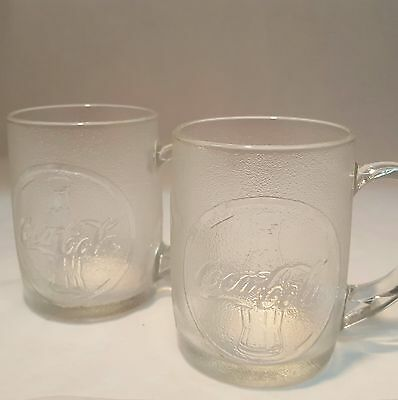Frosted Coca Cola Clear Glass Mugs Embossed with Coke Bottles Set of 2