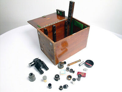Antique Vintage Camera Microscope Parts ? + Wooden box