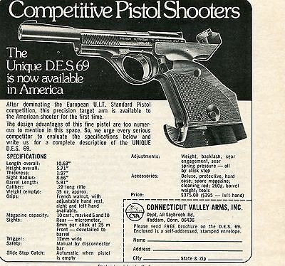 1974 small Print Ad of Connecticut Valley Arms Unique DES 69 Standard UIT Pistol