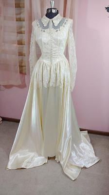 Vintage Victorian Wedding Gown Satin Lace Elegant Size Small