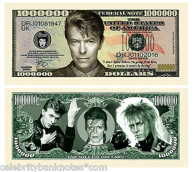 DAVID BOWIE MEMORABILIA :$1 Million Collectors Art Banknote/Bill - Signed