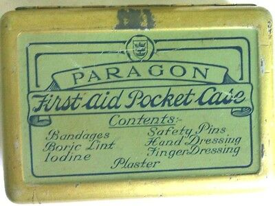 Vintage First Aid Pocket Tin 1930's with Bukta Leather Case Paragon CPR Face Med