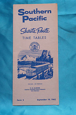 Southern Pacific - Shasta Route - Timetables - Sept. 19, 1962